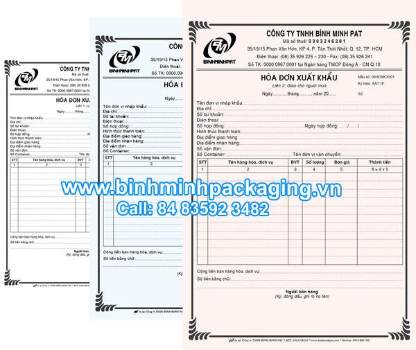 printed bills in binh minh packaging binh minh packaging