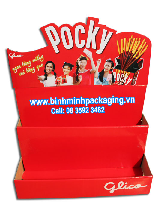 Pocky display shelves for food and cake