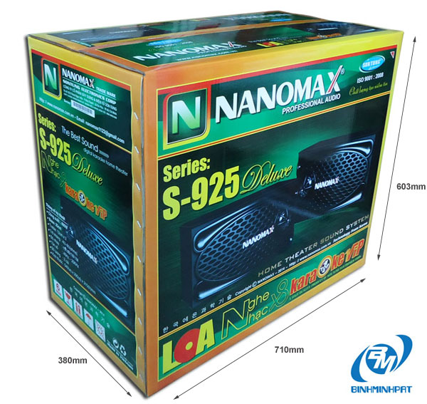 Specifications of NaNoMax S-925 Speakers packing carton box