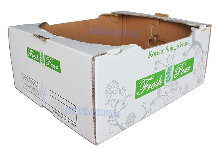 White Corrugated Pear Packing Boxes Fruit Cartons - img02