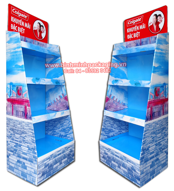 Supermarket Paper Display Shelves (Light blue Color) - img 01