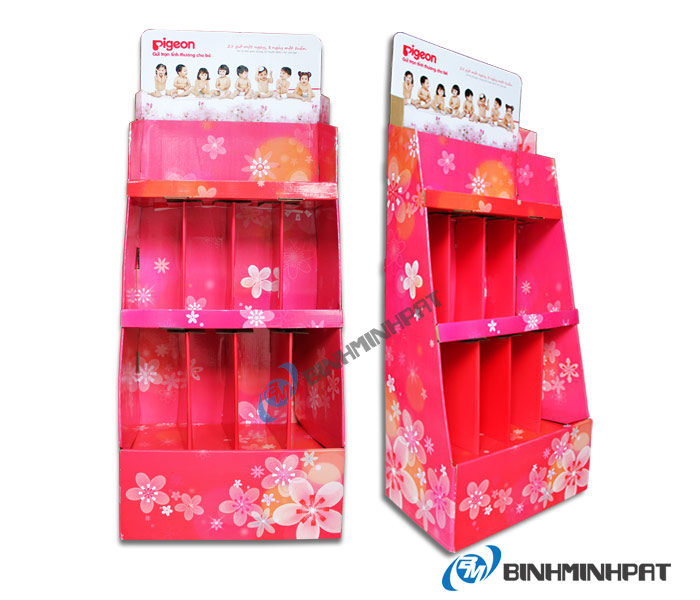 Supermarket Paper Display Shelves (Prink Color) – 4 Storey, Type Large
