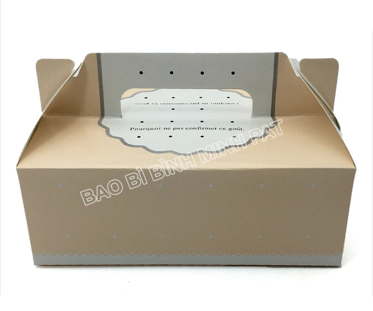 Mini cake box packaging paper box with handle - image01