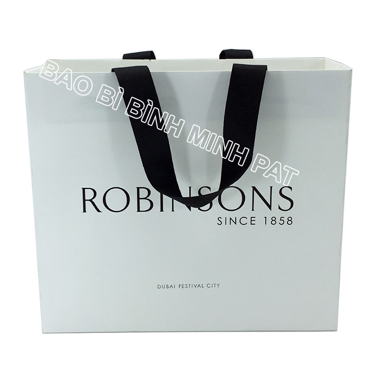 Festival brand custom logo shopping bag paper handle bags