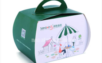 Luxury custom design white card handle cake box with competitive price -img01