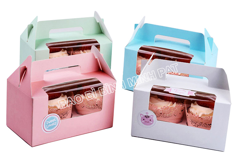 Corrugated Paper Cake Packaging Box with Handles - img03