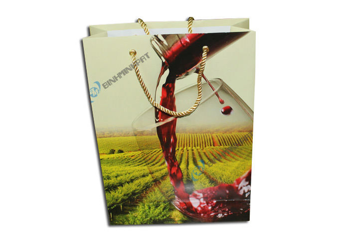Custom wine paper Luxury bags with handles for red wine